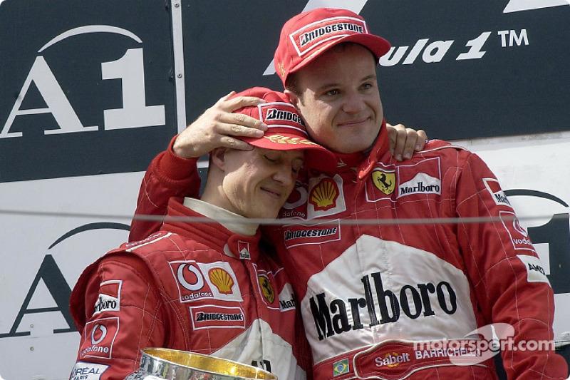 The podium: Michael Schumacher and Rubens Barrichello