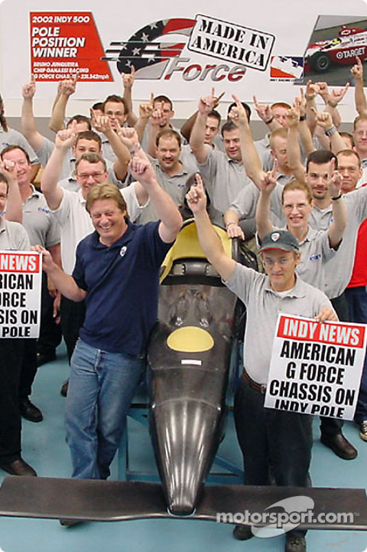 G Force staff celebrating pole position at the Indianapolis 500
