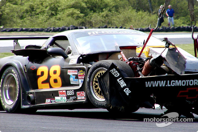 Lou Gigliotti's damaged Corvette