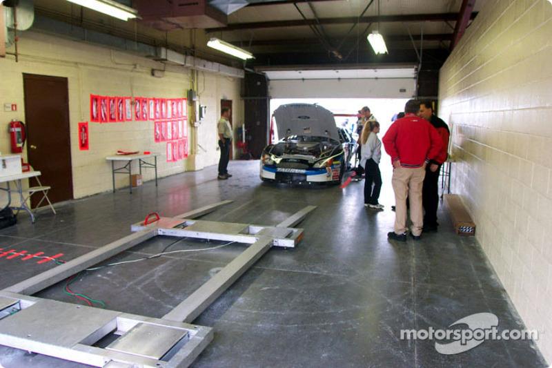 Technical inspection on Mark Martin's car