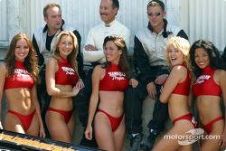 The Hawaiian Tropic girls with KnightHawk Racing crew members