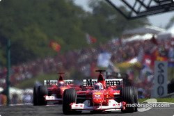 Rubens Barrichello leading Michael Schumacher