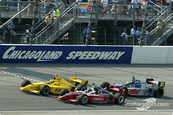 Sam Hornish Jr. taking the checkered flag 0.0024 of a second in front of Al Unser Jr., followed by Buddy Lazier