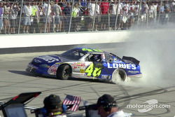 Jimmie Johnson does a doughnut