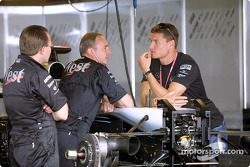David Coulthard in McLaren garage