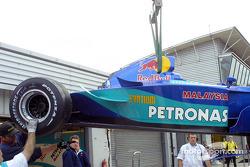Heinz-Harald Frentzen's Sauber back in the garage