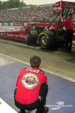Brandon Bernstein watches the car get prepped