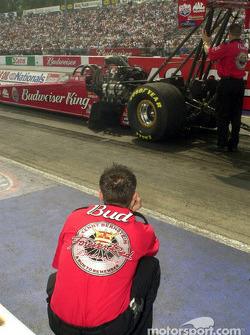 Brandon Bernstein watches the car get prepped
