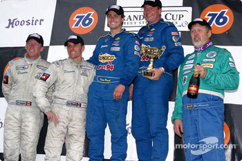 The podium: overall and GS I winners Devon Powell and Doug Goad with Scott Maxwell,  David Empringham and Joe Nonnamaker