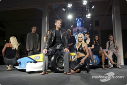 Spoon/Mild Seven RenaultF1 Media Party: Jarno Trulli, Jenson Button and Fernando Alonso