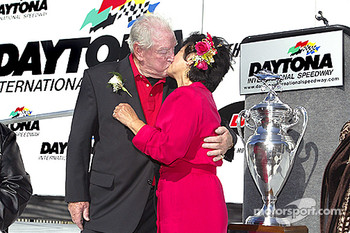 Marvin and Bettie Panch renewing their vows in Victory Lane; Marvin Panch never got a chance to celebrate his 1961 Daytona 500 triumph in Victory Lane at Daytona International Speedway.