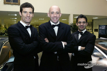 Coventry City player Gary McAllister poses with Jaguar F1 driver Mark Webber and Antonio Pizzonia at the launch of the NSPCC Coventry Campaign
