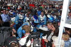Race winner Paul Tracy celebrates