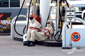 Gas pump guys takes a break
