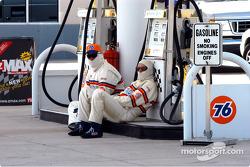 Gas pump guys takes a break
