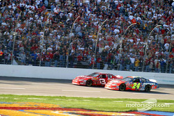 Dale Earnhardt Jr. battles with Jeff Gordon for second place