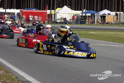 #05-double winner Kerry Parnell leads the way in Briggs Medium with #34-Jody Pierce behind him in second