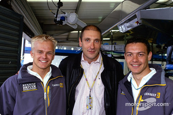 Heikki Kovalainen and Fabio Carbone with Bruno Michel