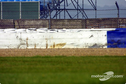 Scene of Juan Pablo Montoya's crash on day 1