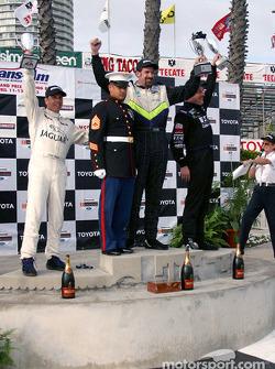 The podium: race winner Boris Said with Johnny Miller and Scott Pruett