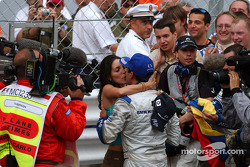 Race winner Juan Pablo Montoya celebrates win with wide Connie