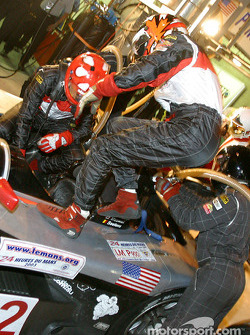 Pitstop for #12 JML Team Panoz Panoz LMP01: Benjamin Leuenberger and Scott Maxwell
