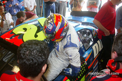 Juan Pablo Montoya slides into the DuPont Chevrolet