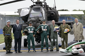 Brigadier Richard Folkes, the Rt Hon. Geoff Hoon Secretary of State for Defence, Antonio Pizzonia, Mark Webber, Apache pilots Major Mick Manninng and Captain Bill McPhee and FIA President Max Mosley