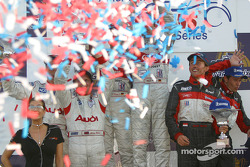 Overall and LMP900 podium: confettis for Frank Biela, Marco Werner, J.J. Lehto, Johnny Herbert, Olivier Beretta and David Saelens