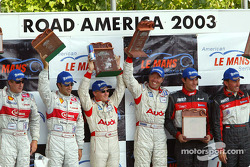 LMP900 podium: race winners J.J. Lehto and Johnny Herbert, with Olivier Beretta and David Saelens, and Frank Biela and Marco Werner
