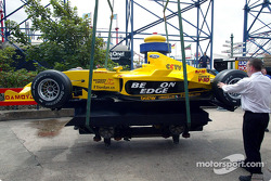 The Jordan Ford EJ13 is loaded on the rollercoaster