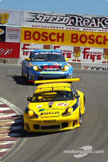 #61 P.K. Sport Porsche 911 GT3 RS: Vic Rice, David Warnock, and #67 The Racers Group Porsche GT3 RS: Michael Schrom, Pierre Ehret