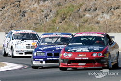 Andrew Monterrubio, James Clay and Ralph Warren chase each other during Saturday qualifying