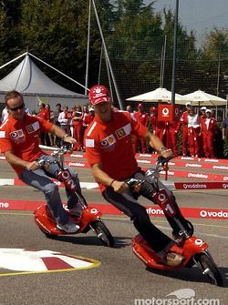 Vodafone scooter cup: Michael Schumacher and Rubens Barrichello