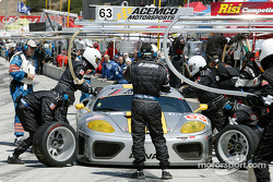 #63 ACEMCO Motorsports Ferrari 360 Modena during a pit stop