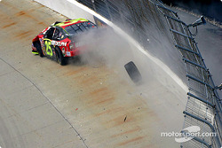 Joe Nemechek hits the wall hard