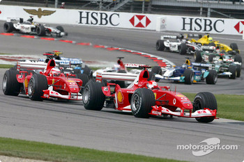 Start: Michael Schumacher and Rubens Barrichello