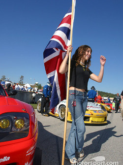 Starting grid: the same cute flag girl