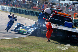 #30 Intersport Racing Riley & Scott MK III C: Clint Field, Michael Durand, Larry Oberto crashes in the tow truck