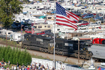 The railroad track relocation is to start after the race to allow for a larger grandstand
