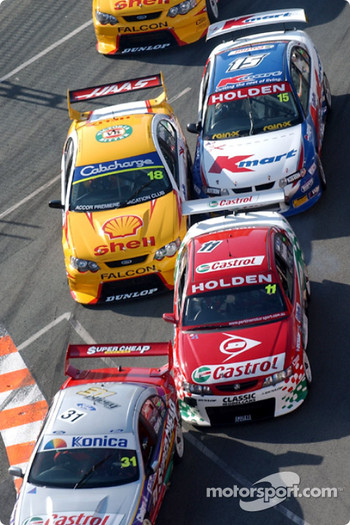 Drivers battle at the first chicane