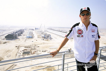 Jenson Button takes a look at the work in progress at the new race circuit in Bahrain, due to host its first Grand Prix in April 2004