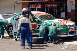 The OzEmail team practices their pit stop