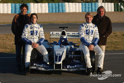 Nelson A. Piquet and Nico Rosberg with their respective fathers standing behind them Nelson Piquet and Keke Rosberg, pose with the WilliamsF1 BMW FW25