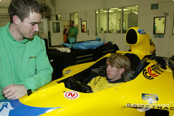 Nick Heidfeld seat fitting at Jordan factory