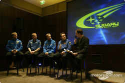 The Subaru team at their pre-event press conference, Rally Monte Carlo 2004