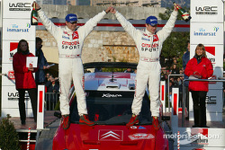 Podium: winners SŽbastien Loeb and Daniel Elena