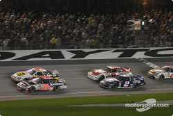 Dale Jarrett and Kevin Harvick fight for the lead