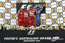 Podium: race winner Michael Schumacher with Jean Todt, Rubens Barrichello and Fernando Alonso