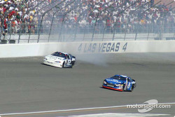 Mark Martin avoids the spinning Ryan Newman